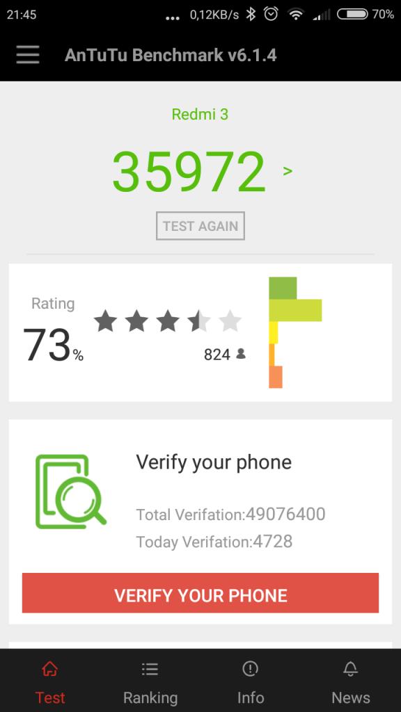 Test Xiaomi Redmi 3 v AnTuTu Benchmark
