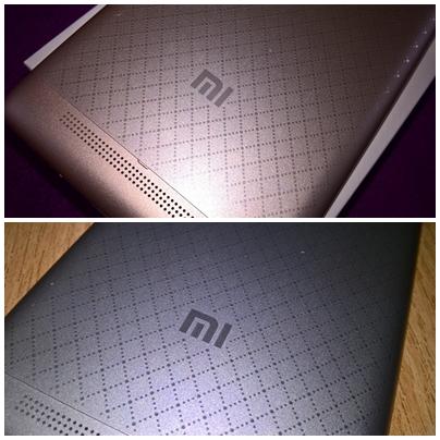 Logo na zadní straně Xiaomi Redmi 3 (zlatá a stříbrná varianta)