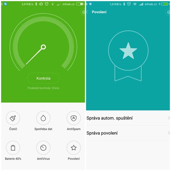Aplikace pro čištění a zabezpečení v Xiaomi Redmi 3