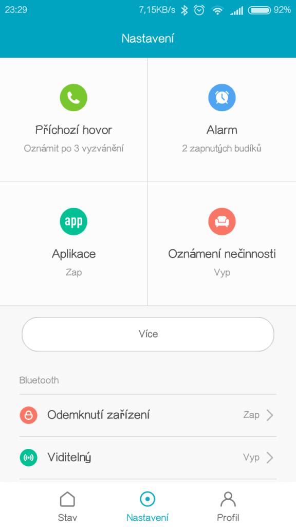 Nastavení notifikací náramku Xiaomi Mi Band 2