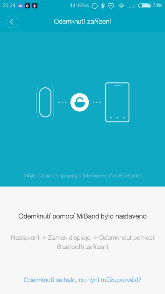 Odemknutí mobilu Xiaomi náramkem Mi Band 2