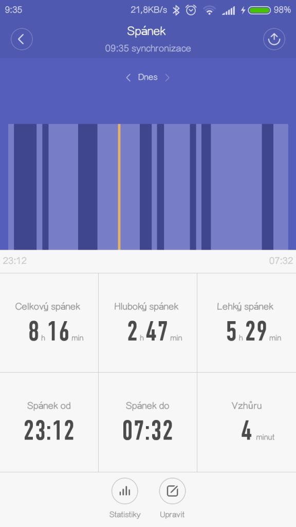 Naměřený spánek v aplikaci MiFit