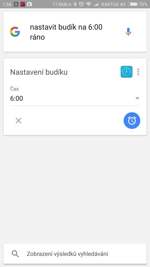 Google Now - Nastavení budíku hlasem