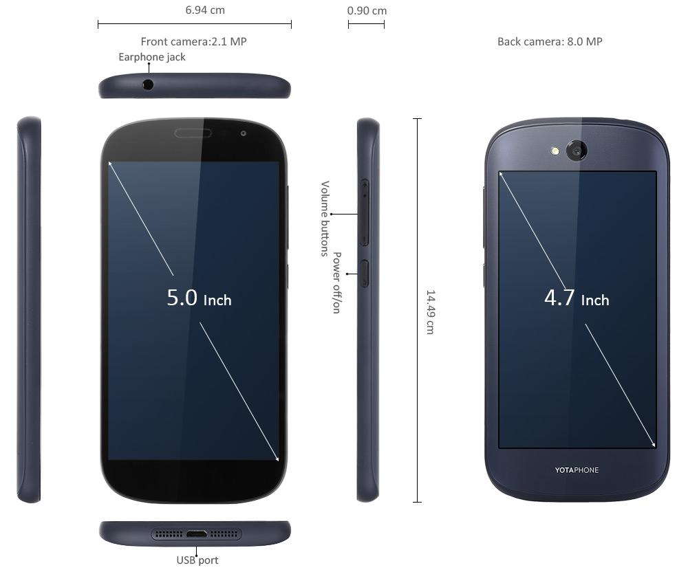 Yotaphone 2 - rozměry