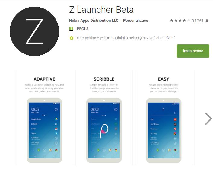 Z Launcher od Nokia v Obchodu Play
